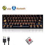 UrChoiceLtd Teclado Mecánico, rk61 con cable/inalámbrico Bluetooth teclado 61 teclas LED USB Quickfire teclas Impermeable Teclado con teclas Anti-Ghosting y clave cap extractor para jugadores