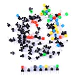 Cylewet 70Pcs 6×6×8mm Momentary Tactile Tact Push Button Switch with Button Caps of 7 Color for Breadboard Arduino (Pack of 70) CYT1115