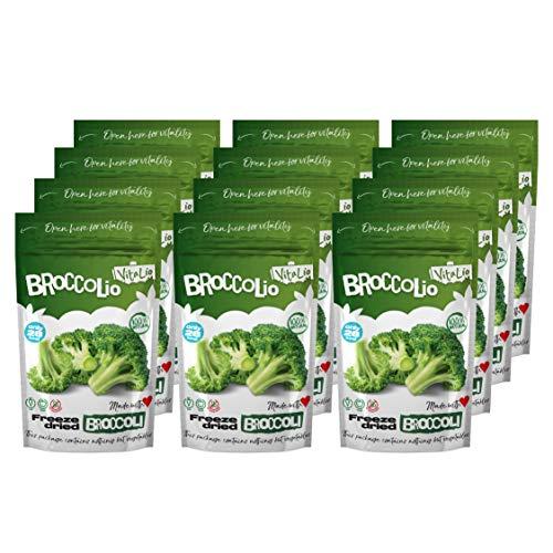 Trockengemüse von VitaLio - Broccolio Gefriergetrockneter Gemüsesnack - 100% reiner Brokkoli - Keine Zusatzstoffe - Reich an Nährstoffen, Vitaminen - Kalorienarm, Glutenfrei (12x10g)