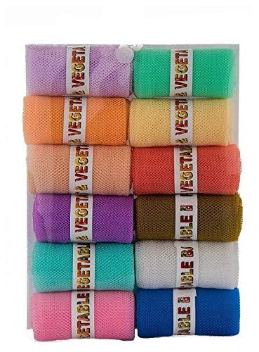 Sio Fridge Vegetable and Fruit Reusable Net Bag, Pack of 12, Multicolour (25.5 x 35.5 cm)