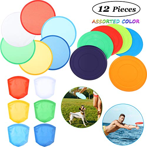 Gejoy 6 Pieces Silicone Flying DiscDog Training Flyer Dog Toy Disc and 6 Pieces Folding Toy Pocket Foldable Flying Disc for Pet Party Favors Summer Outdoor Activity Game Assorted Color