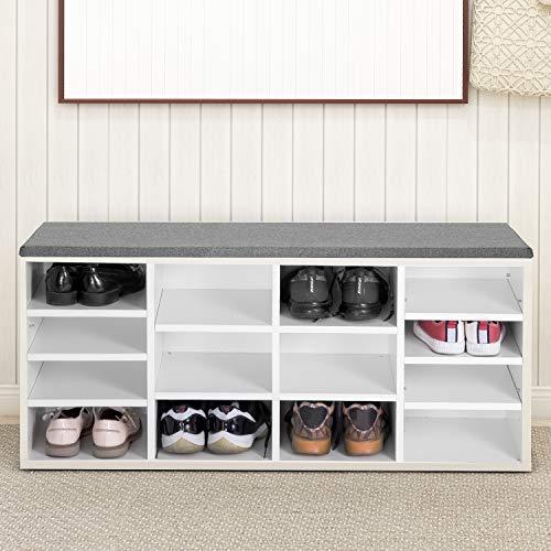 Pectt Banco de almacenamiento de zapatos con asiento de cojín, banco de zapatos blanco estante ajustable, banco de entrada con almacenamiento de zapatos para pasillo, dormitorio