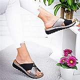 Riyueyi Sandalias Planas para Mujer Verano 2021 Punta Abierta Cuero sintético sólido Zapatos ortopédicos para Mujer Plataforma Informal,Negro,US6/EU37