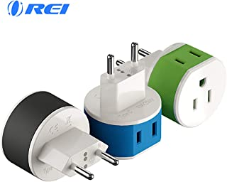 European Power Plug Adapter by OREI with 2 USA Inputs - Travel 3 Pack - Type C (US-9C) - Turkey, Italy, Iceland, and More - Safe Grounded Use with Cell Phones, Laptop, Camera Chargers, CPAP, and More