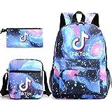 Tik Tok - Juego de 3 piezas para niños y niñas (1 estuche para lápices, 1 bolsa para el almuerzo, 1 mochila y 1 mochila para teñido anudado
