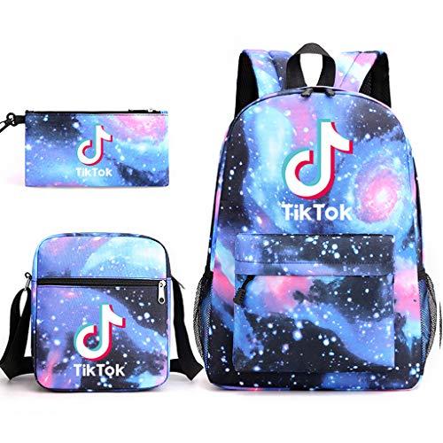Tik Tok - Juego de 3 piezas para niños y niñas (bolsa de almuerzo, 1 bolsa de almuerzo, 1 mochila y 1 mochila de teñido anudado)
