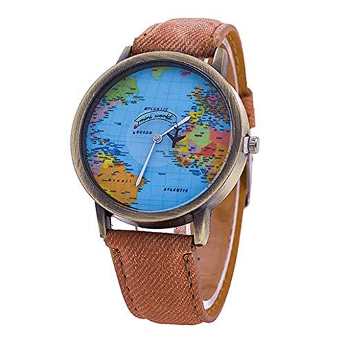 collectsound Reloj de pulsera analógico de cuarzo con esfera de mapa del mundo y correa de tela vaquera, regalo para estudiantes