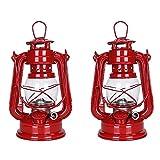 19cm 灯油ランプ ハリケーンランタン 野生の非常灯 灯油ディーゼルプラントオイルを燃料庭の装飾の屋外のキャンプのため Pack of 2 Pieces (red red)