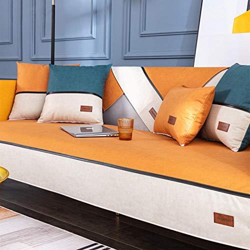 Homeen Funda impermeable para sofá de perro gato, piel sintética, fundas antideslizantes para sofá, funda protectora de sofá antiincrustante para mascotas, color amarillo, 2 x 30 x 50 cm
