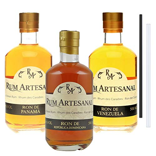 RA 3er Rum Set | Rum aus Panama, Venezuela, Dom.Rep, inkl. 2 Glasdrinkhalme (3x0,5l)