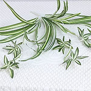 Silk Flower Arrangements SJWA Artificial Flowers Wall Decoration Grass Vines Room Decor Greenery Fake Plant Artificial Flowers Narcissus Chlorophytum Plantas Artificiales Wedding Bouquets (Color : Green)