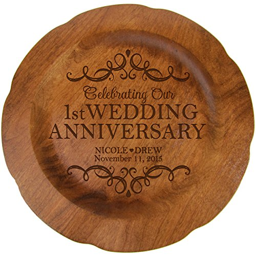LifeSong Milestones Personalized 1st Wedding Anniversary Plate Gift for Her, Happy 1 Year Anniversary for Him, 12' D Custom Engraved for Husband or Wife USA Made (1st Year with Scrolls)