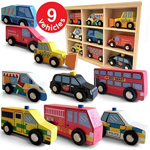 Holzautos 9 Teile Stadtfahrzeuge Fahrzeuge - Holz-Auto Spielzeug-Auto Verkehrspiel mit Holzkiste - inkl. Polizeiauto Feuerwehrauto Krankenwagen Taxi - Lernspielzeug Kindergeschenk - Mini-Automodelle
