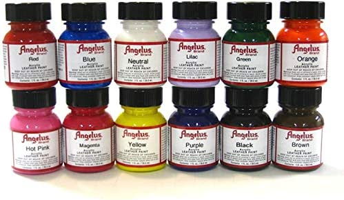 Angelus Brand Acrylic Paint Starter Kit 12 1oz Leather Vinyl Sneaker