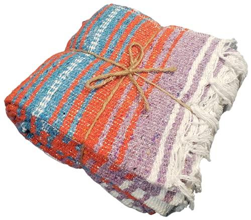 Mexican Blanket, Hand Woven Blanket, Yoga Blanket, Serape, Beach Blanket, Camping Blanket, Park Blanket (Orange/Turquoise)