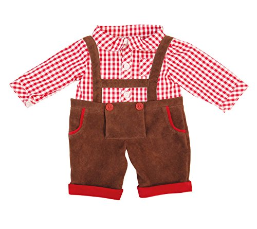 Bayer Design 8382400 - Kleidung für Puppen, Landhausstil Latzhose mit Hemd, Circa 36 - 38 cm