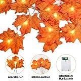 Lichterkette Herbst, 3m 30 Led Herbst Dekoration, HerbstbläTter Deko, Ahornblatt Lichterketten für Türrahmen Landhaus Garten TreppengeläNder, Tischdeko Fensterdeko Erntedank Thanksgiving Halloween - 2