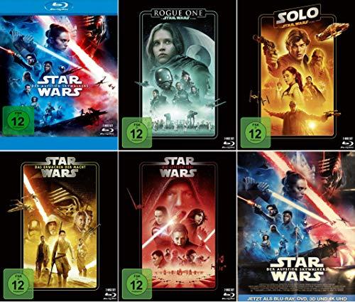 Star Wars 5er Set - Aufstieg Skywalkers + Rogue One + Solo + Die letzten Jedi + Erwachen der Macht (+ ein Poster von Der Aufstieg Skywalkers)