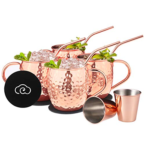 New 4 Moscow Mule Mugs Hammered Copper Brass 16 Ounce oz 500ml Bar 4 per set 4x