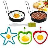 5 anillos de huevo de acero inoxidable, antiadherentes, para tortitas y tortitas, de acero inoxidable, antiadherentes, para sartenes, huevos fritos, moldes de huevos