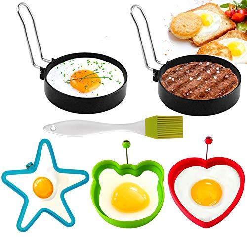5 Stücke Egg Ring Edelstahl, Silikon-Ei-Ringe Antihaft,Pancake Form Edelstahl Antihaft Pfannkuchen Form Spiegeleiform für Bratpfanne Eierformer Einstellen