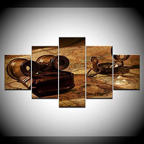 Gxucoa canvasdruk, oude telescoop, 5 stuks, HD-behang, kunst, canvasdruk, moderne posters, modulaire kunst, schildering, woonkamer, nieuwjaarscadeau