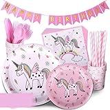INTVN 72 pcs Vajilla de Unicornio Desechable, Suministros de fiesta de unicornio,Vasos, Platos, Servilletas, Cubiertos Vajilla de cumpleaños Infantil para Unicornio Fiesta 12 Invitados