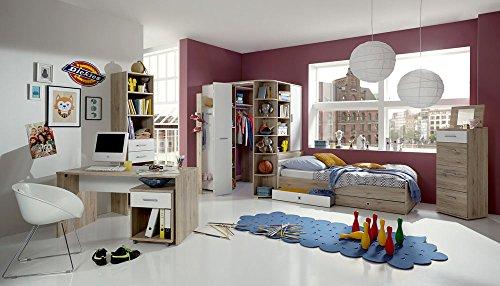 lifestyle4living 3-TLG. Jugendzimmer in San Remo Eiche-Nb./alpinweiß, mit einem begehbarem Eckschrank B: 124 cm, Bett (90 x 200 cm) und Schreibtisch B: 140 cm