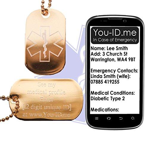 Dementie Ketting Tag Emergency Identiteit SOS ID Waarschuwing Vergulde Gegraveerde Leger Hond Tag Sieraden Hanger Talisman. Smartphone Device Medic Alert Service www.You-ID.me. Optionele SMS