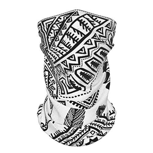 xfff132 Diadema de seda reutilizable para exteriores, decoración tribal de plumas nativa americana banda para cabeza india tipi tienda de campaña arco y flecha impresión negro y blanco bufanda de cara