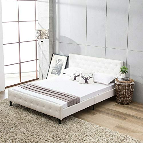 Full Size Bed Frame with Upholstered Faux Leather Platform & Solid Wooden Slat, White