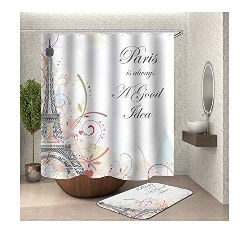 Anwaz Duschvorhang & Badezimmerteppich Set Waschbar aus Polyester Eiffelturm Muster Design Badewannenvorhang Badezimmermatte Bunt mit 12 Duschvorhangringen für Badewanne - 165x180CM/ 40x60CM