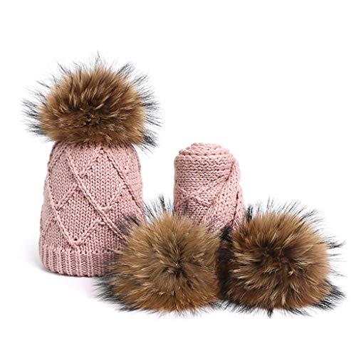 SPNEC Chica Pompon Sombreros y Bufandas Conjuntos de Invierno Punto Cálido Naturaleza Sombrero Bufanda Gorros Gruesos Gorros Gorras Caps Niños Huesos sólidos