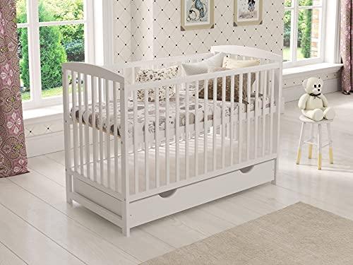 Lit en bois pour enfants (blanc) avec tiroir 120 x 60 cm + Matelas en mousse + Barrière de sécurité en bois + Gaine protectrice