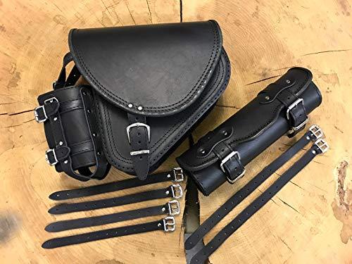 ORLETANOS Diablo Black Set Schwingentasche + Lenkerrolle kompatibel mit Satteltasche schwarz mit Werkzeugrolle Auch 2018er Modelle HD Harley Davidson Fatboy Suzuki VN1500 VN 800 600 Tasche