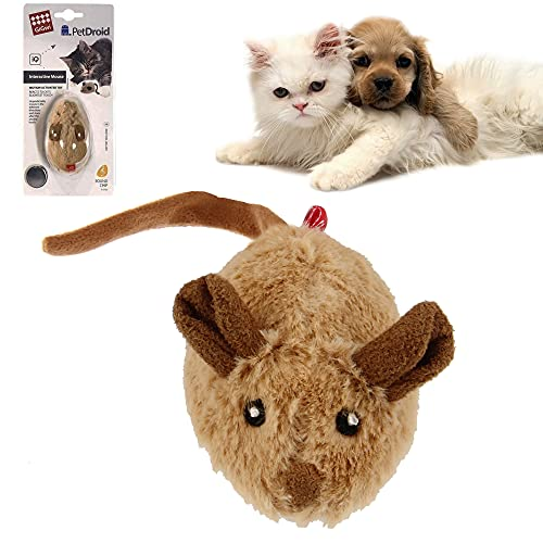 Vealind GiGwi Interactive Cat Toys Auto Moving Mice with Lifelike Squeaky Sound Mouse Toy (Coffee Ear)