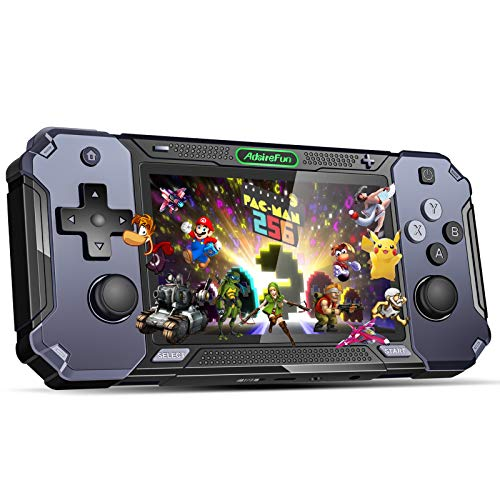 AdsireFun Handheld Game Console,Retro Game Console Open Source System,4-Inch IPS Screen Retro Mini Game Player with 2000 Classical Games Gifts for Children(Black)