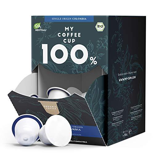 My Coffee Cup – MEGA BOX SINGLE ORIGIN COLOMBIA – BIO-KAFFEE I 100 Kaffeekapseln für Nespresso®³-Kapselmaschinen I 100% industriell kompostierbare Kaffeekapseln – 0% Alu I Nachhaltige Kaffeekapseln