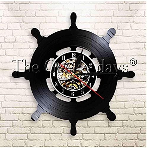 Reloj de pared de vinilo para volante náutico de 1 pieza, barco, yate, marina, marinero, vintage, para decoración del hogar, reloj de pared, sin luz-No_Light