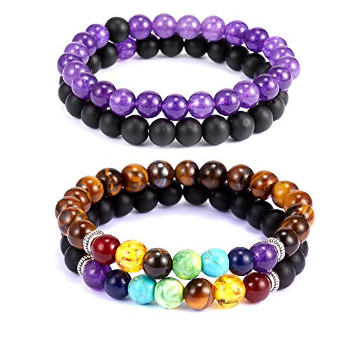RINHOO 3PCS/Set Corn Chain Bracelet Crystal Gold/Silver/Rose Gold Multilayer Butterfly Heart Crown Charms Stretch Bracelet for Women Girls Jewely (4PC/Set (Purple+ Colorful))