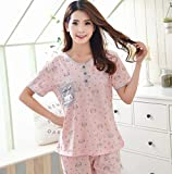DFDLNL 100% Baumwolle gestrickt Damen Pyjamas Nachtwäsche Plus Size Pyjama mit O-Ausschnitt Sommer...