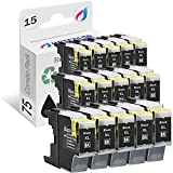 HOTCOLOR 15Pack LC71BK LC79BK LC75BK Black Ink Cartridge for Brother LC-71 LC-75 LC-79 Work for Brother MFC-J280W, MFC-J425W, MFC-J430W, MFC-J435W, MFC-J5910DW, MFC-J625DW, MFC-J6510DW Printer