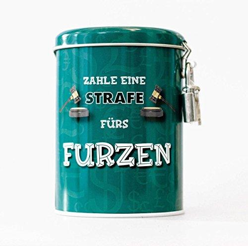 Close Up Spardose - Furzkasse aus Aluminium mit Vorhängeschloss in türkis
