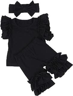 ANATA - Pantalones Cortos con Volantes para niñas y niños pequeños, de algodón sólido, con Diademas