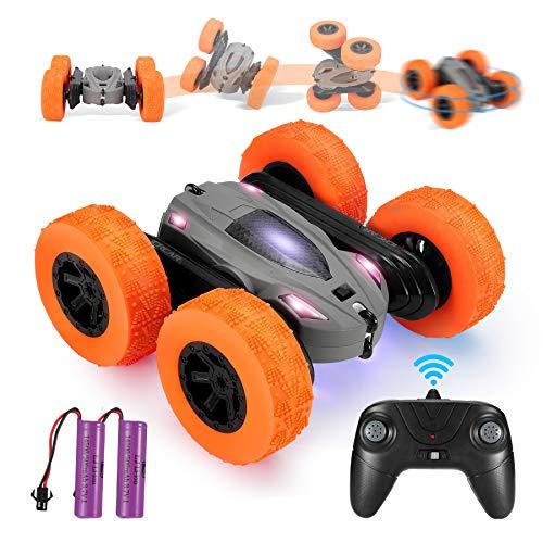 Ferngesteuertes Auto, 4WD RC Stunt Auto Doppelseitige 360°Drehung Fahrzeuge RC Offroad Spielzeug mit 2 wiederaufladbare Batterien, Spielzeug Geschenke für Kinder Jungen Mädchen (Grey)
