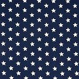 Tela de algodón azul marino con estrellas blancas, tela de moda – precio es por 0,5 metros...