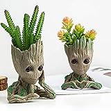 Leegicst Chibi Figurines Grand pot de fleurs, porte-stylo avec dessin animé Baby Groot Figurine Wächter de la galaxie, porte-stylos pour enfant B