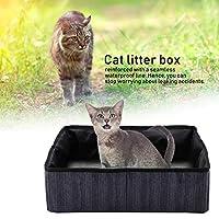猫用トイレ、多機能猫用品、ペット用ベッドとして使用するための猫用トイレとして使用するための水漏れなし(Navy blue dot)