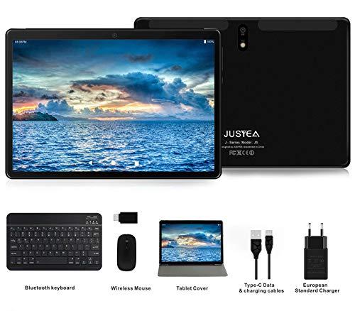 JUSYEA J5 Tablet : Ultra-Portátiles de 10 Pulgadas Android 9.0 Pie Tableta - RAM 4GB | 64GB Expandible (Certificación Google gsm) - Batería de 8000mAh-SIM Dual & WiFi —Ratón | Teclado y Otros (Negro)…