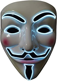 SOUTHSKY LED Masker V voor Vendetta Masker EL-draad Oplichten voor Halloween Kostuum Cosplay Feest (wit gezicht blauw neon...